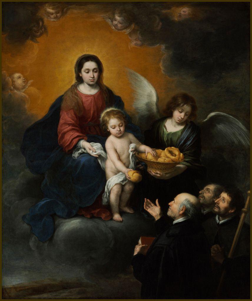 Jésus accompagné de Marie et d'anges, distribuant du pain aux prêtres. Tableau de Bartolomé Esteban Murillo