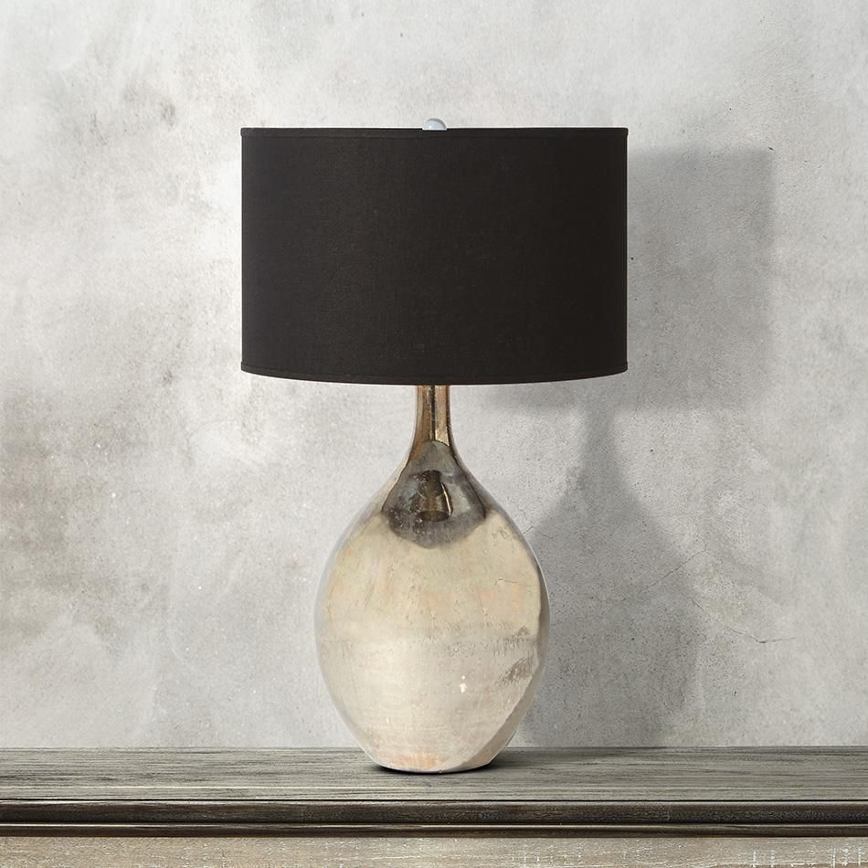Andromeda Large Glass Table Lamp With Black Shade Glass Table Lamp Lamp Glass Lamp Base