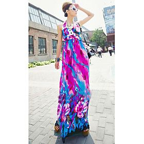 Women's Halter High Waist Print Maxi Dress