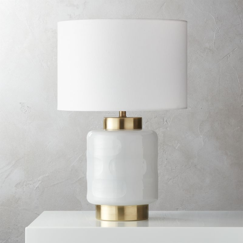 Shop Pebble Milk Glass Table Lamp Carved Pebble Effect Lends A