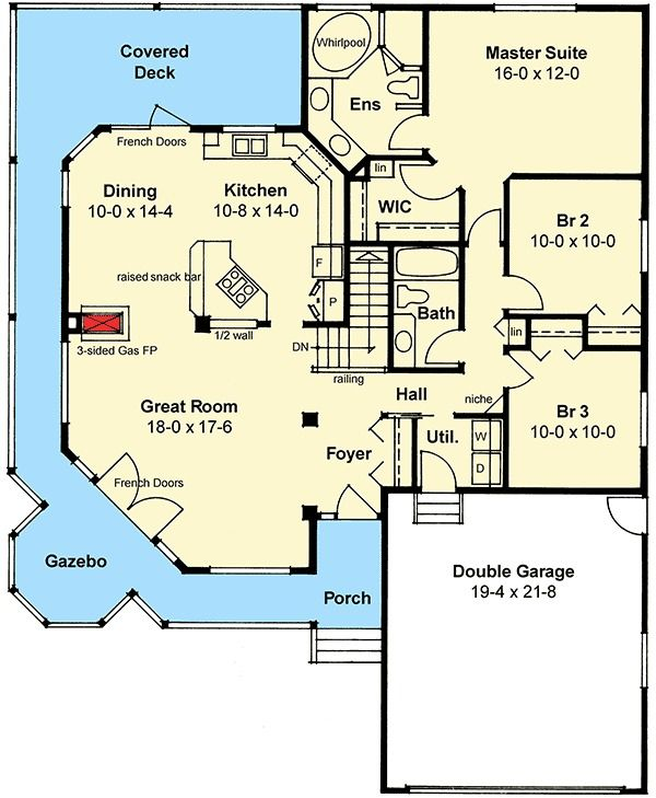 Plan 6715MG: Built-in Gazebo   Porch, House and Gas fireplace
