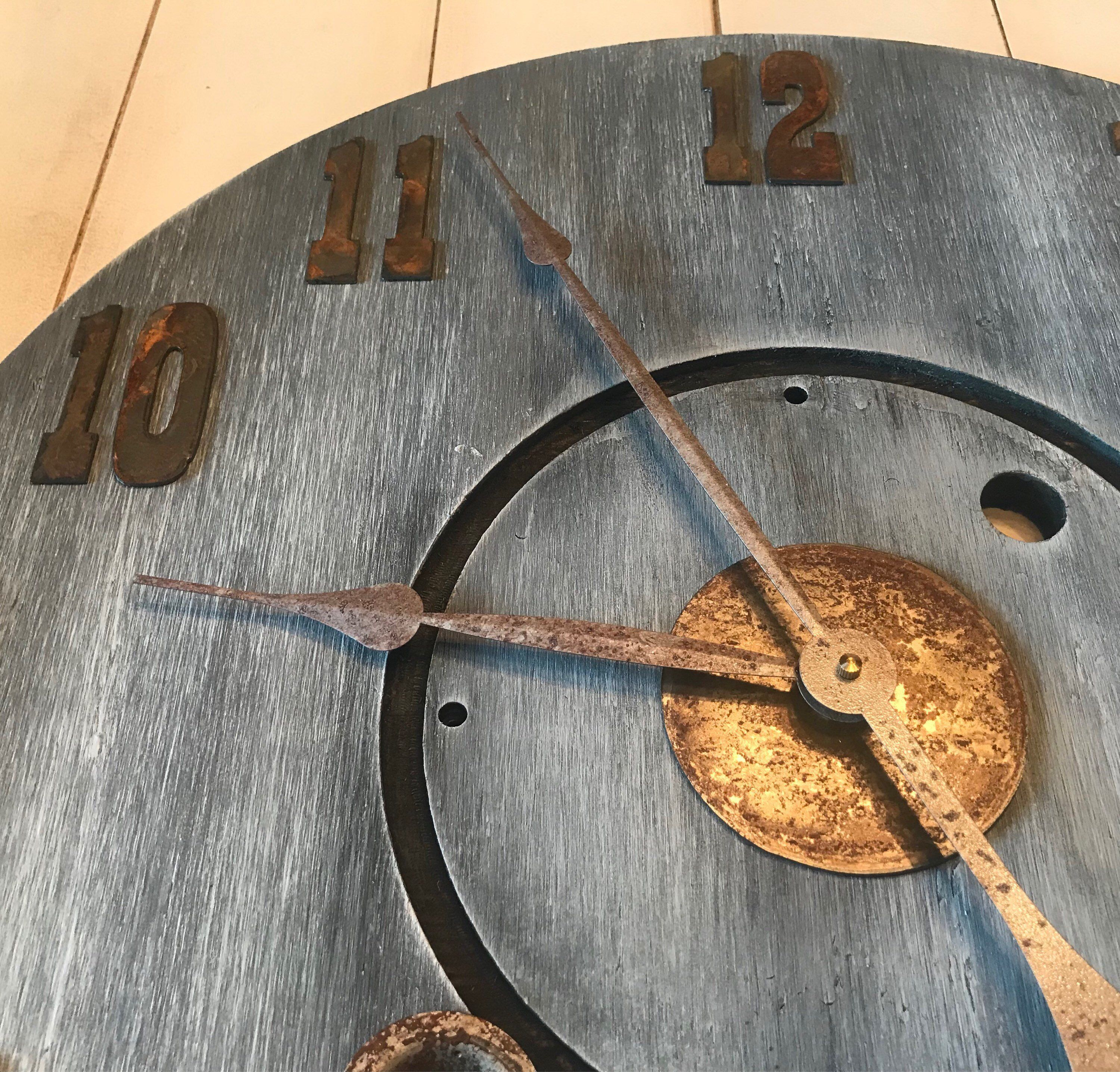 24 gray rustic farmhouse clock with metal numbers