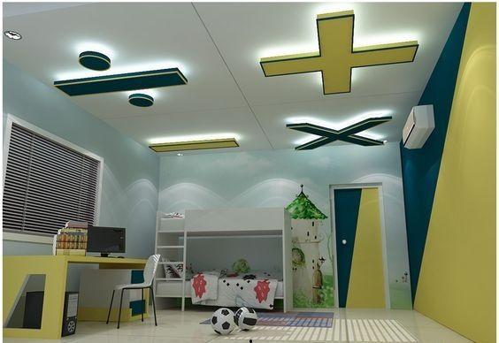 Simple Plaster Of Paris False Ceiling For School Age Kids Room House Ceiling Design False Ceiling Design Ceiling Design