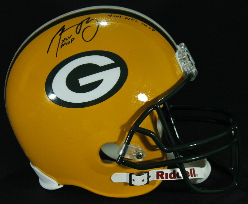 3043ff49ba1 Aaron Rodgers Signed Packers Full-Size Helmet Inscribed
