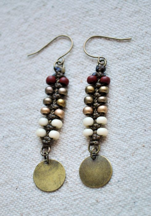 Zipper Earrings with Brass Charm from Amira Jewelry