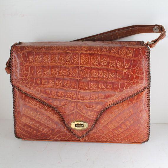 Vintage Florida Alligator Handbag By Threadsandpins On Etsy