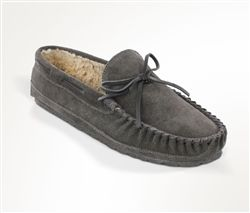 9a8ac96cef2 Mens pile lined Minnetonka Moccasin slipper made from soft and supple  charcoal grey suede with whip-stitch detailing around the toe.