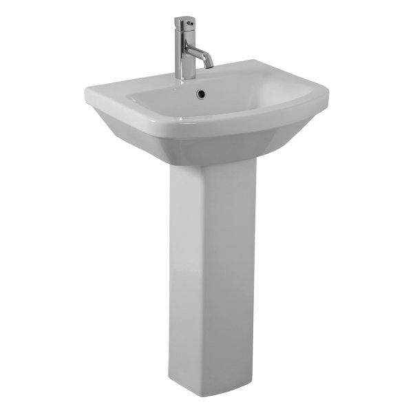 The Saneux I Line Washbasin 530x400mm With Full Pedestal The I
