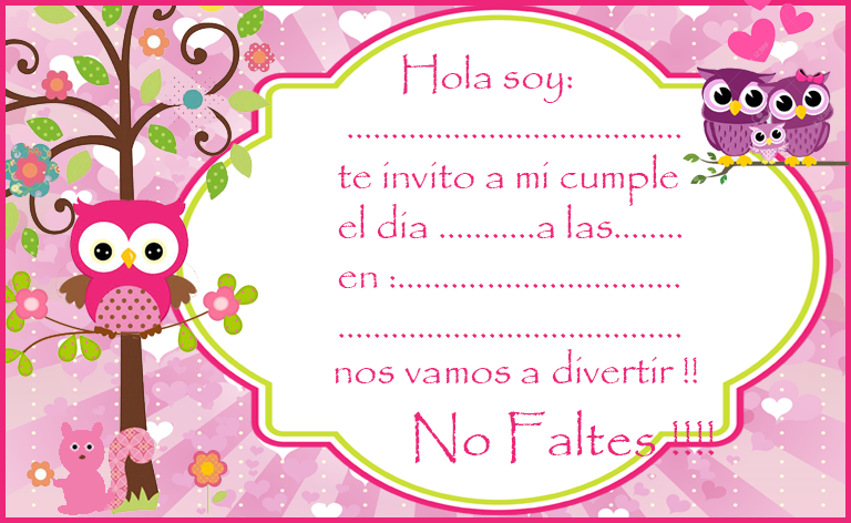 Invitacion Tarjetita Candy Bar Buhos Tiernos Nena Kit