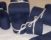 Skinny Navy Burlap Ribbon  - 1 inch x 3  yards