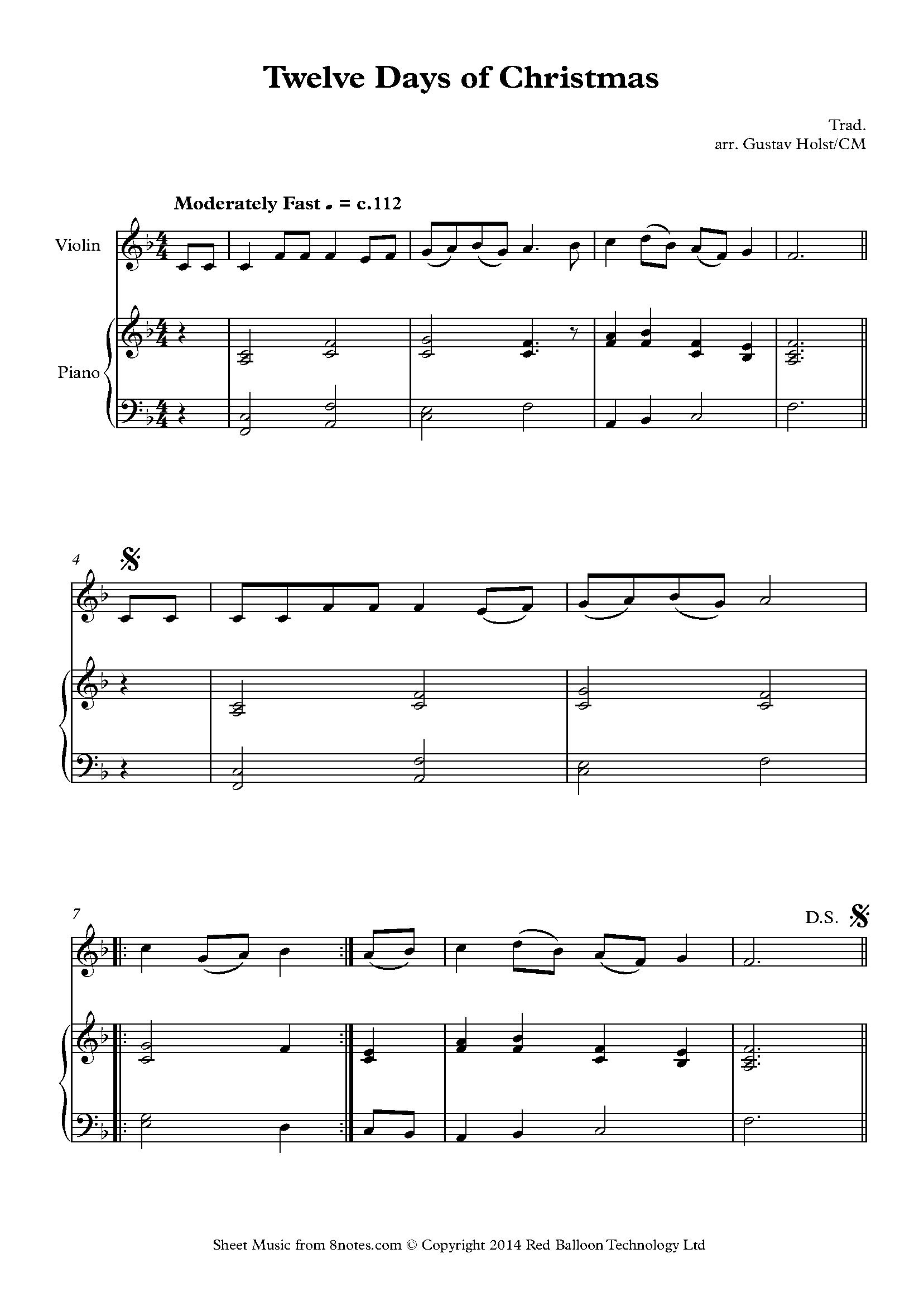 12 Days of Christmas sheet music for Violin - 8notes.com | Free Violin Sheet Music | Pinterest ...