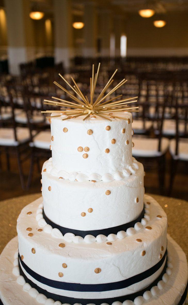 Modern Gold Polka Dot Buttercream Wedding Cake | Salt And Sky Studios  Https:/