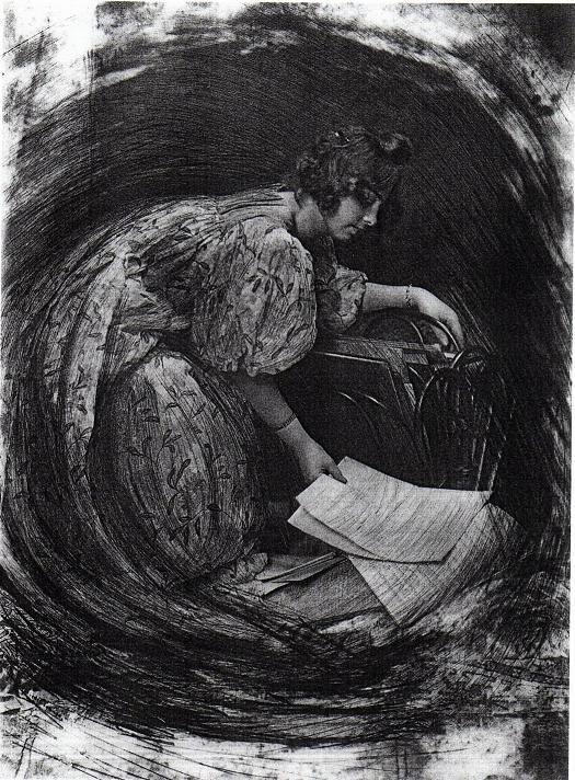 Robert Demachy. La Femme au porte-dessins ou Composition tournante 1905