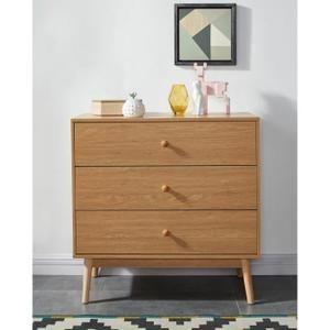 Commode de chambre vintage décor chêne naturel + pieds en bois ...