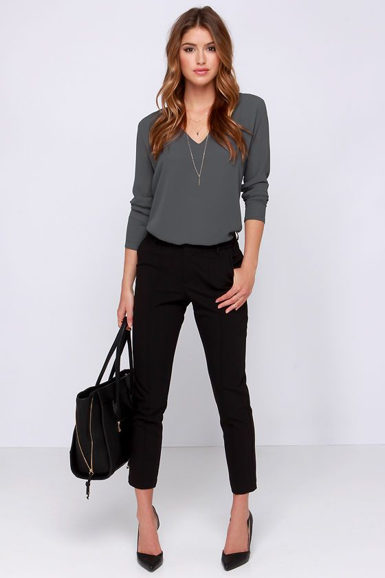 Come What May Grey Long Sleeve Top Come What May Grey Long Sleeve Top Casual Outfit business casual outfits