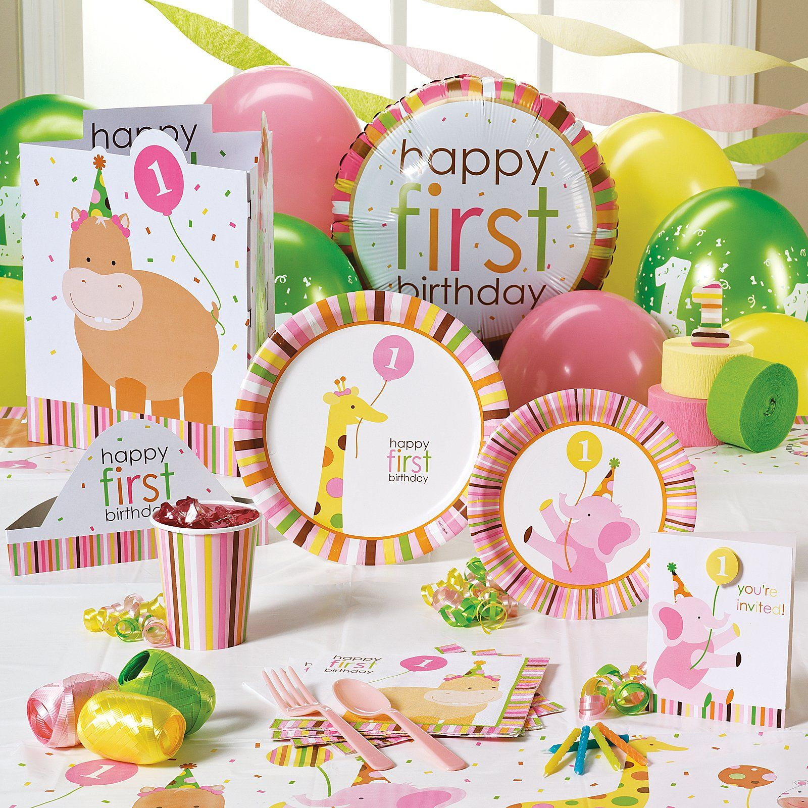Sweet Safari Pink 1st Birthday Party Supplies