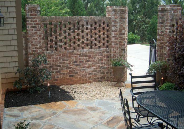 Brick Privacy Wall Brick Courtyard Brick Fence Patio Garden Design