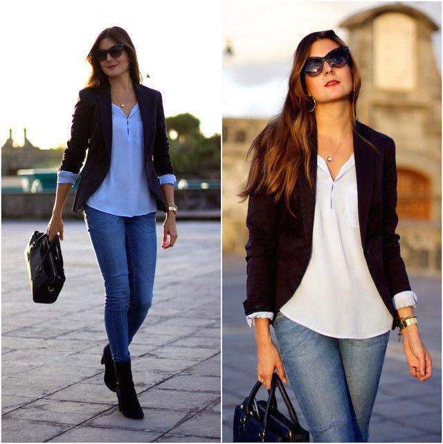 Combinacion de blazer azul mujer