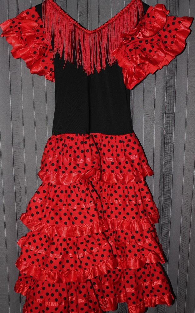 49846a3fc Red Black Dress Polka Dot Spanish Flamenco Costume Ruffled Size Small  #SpanishFlemenco