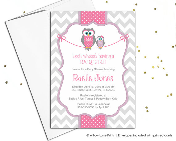 Baby Shower Invitations For S Owl Invites Chevron Pink Purple An
