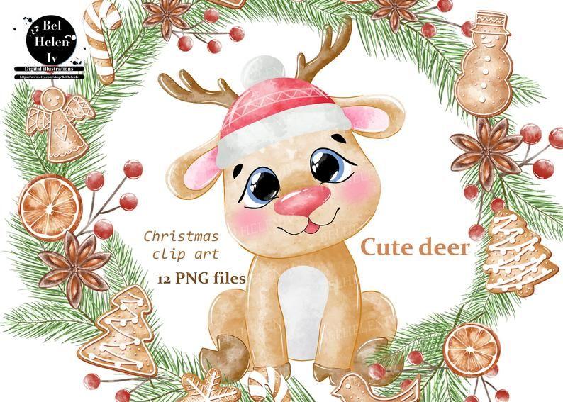 Watercolor Deer Clipart Christmas Clip Art Deer Cute Animal Etsy Christmas Clipart Clip Art Cute Christmas Cards