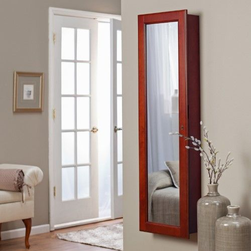 Belham Living Lighted Wall Mount Locking Jewelry Armoire Cherry 14 5w X 50h In Wall Mounted Jewelry Armoire Mirror Jewelry Armoire Jewelry Armoire