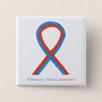 Pulmonary Fibrosis Awareness Ribbon Button Pins   Zazzle com