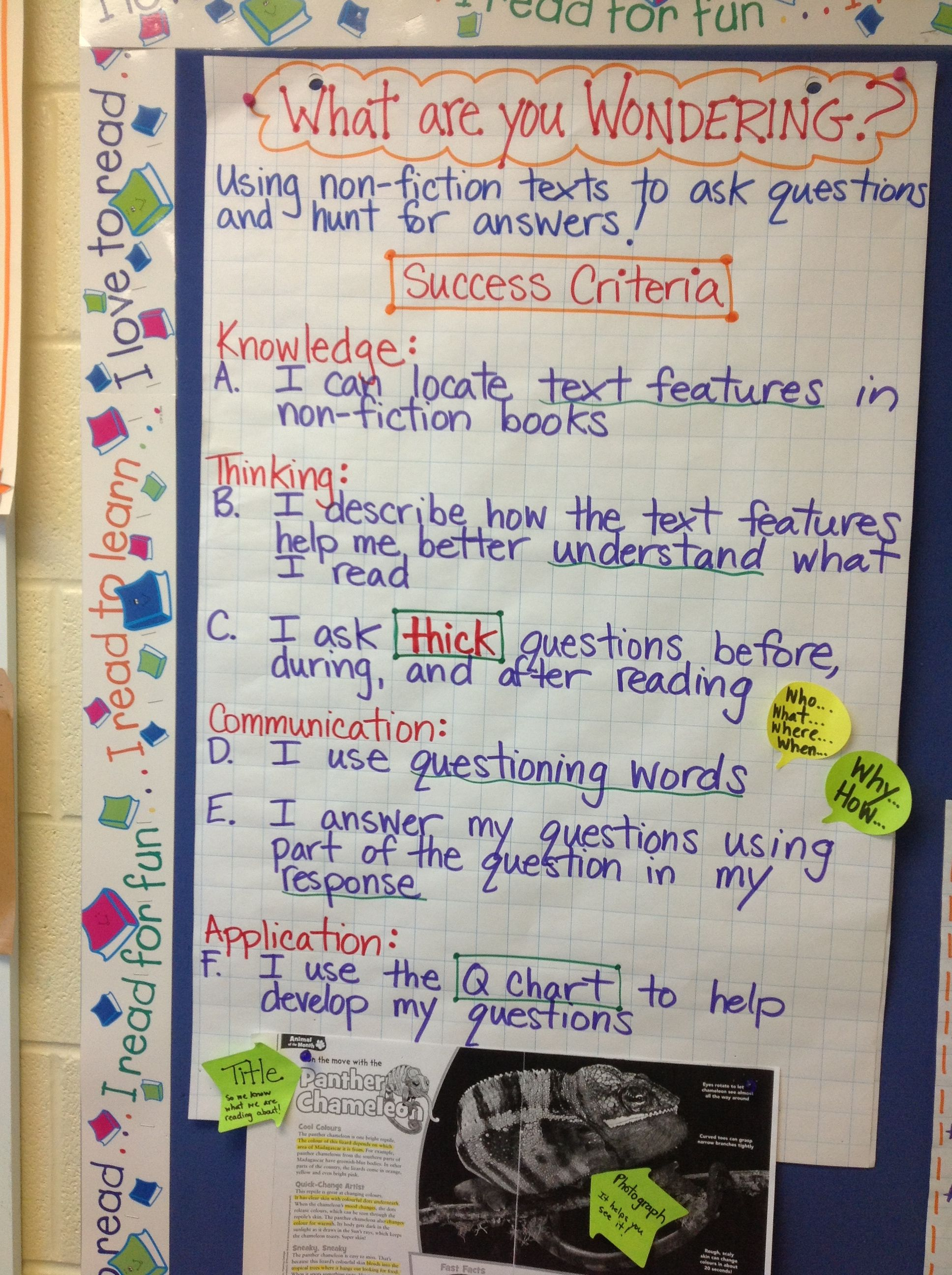 Non Fiction Success Criteria Questioning Text Features Visible Learning Learning Intentions Nonfiction Texts Reading comprehension objectives for