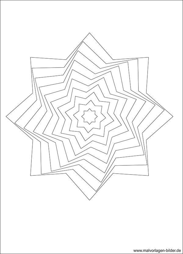 3D Stern - Ausmalbild und Malvorlage | coloring | Pinterest | 3d ...