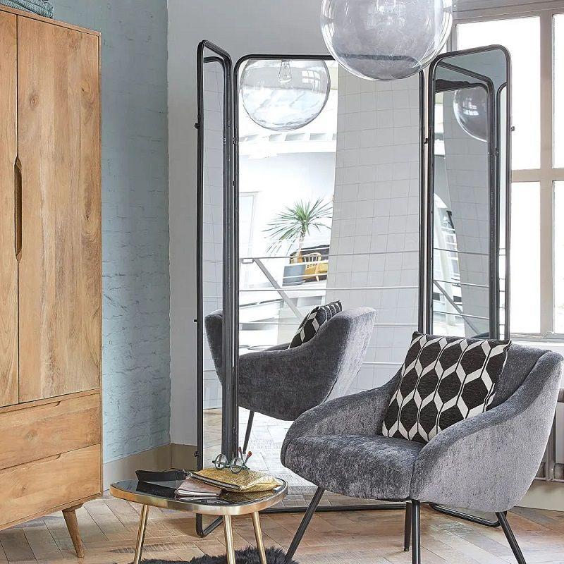 Paravent Dawson en miroir et métal noir Paravent Maisons