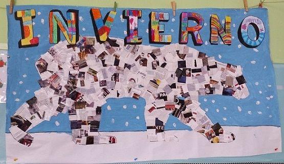 Mural Invierno Con Recortes De Revista Educacion Infantil