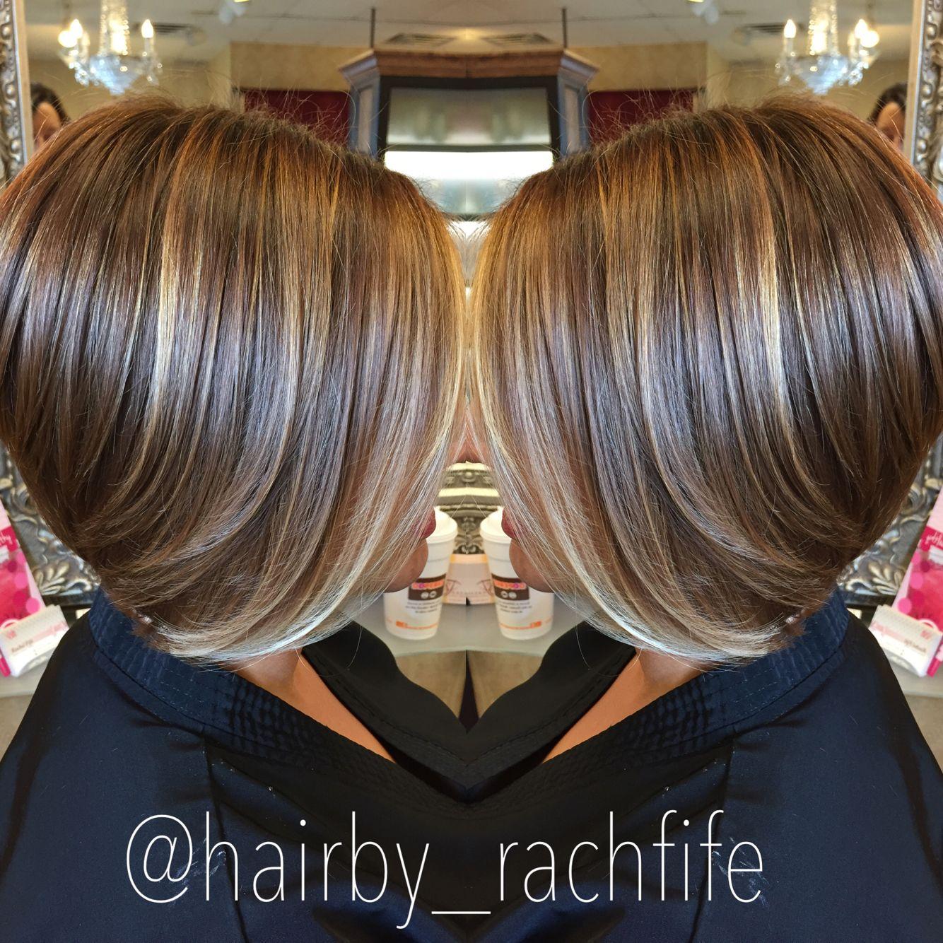 short bob haircut with subtle balayage highlights. hair by