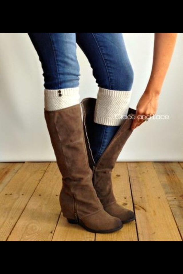 Boots. And the cute leg warmer cheats. I want these! I often get to warm with full boot socks..