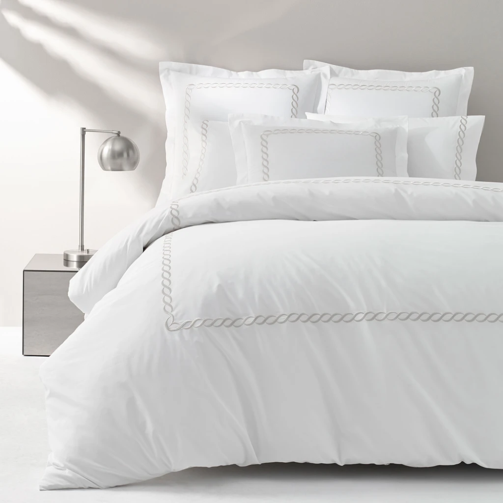 Cable Embroidered Percale Duvet In 2020 White Duvet Covers Best