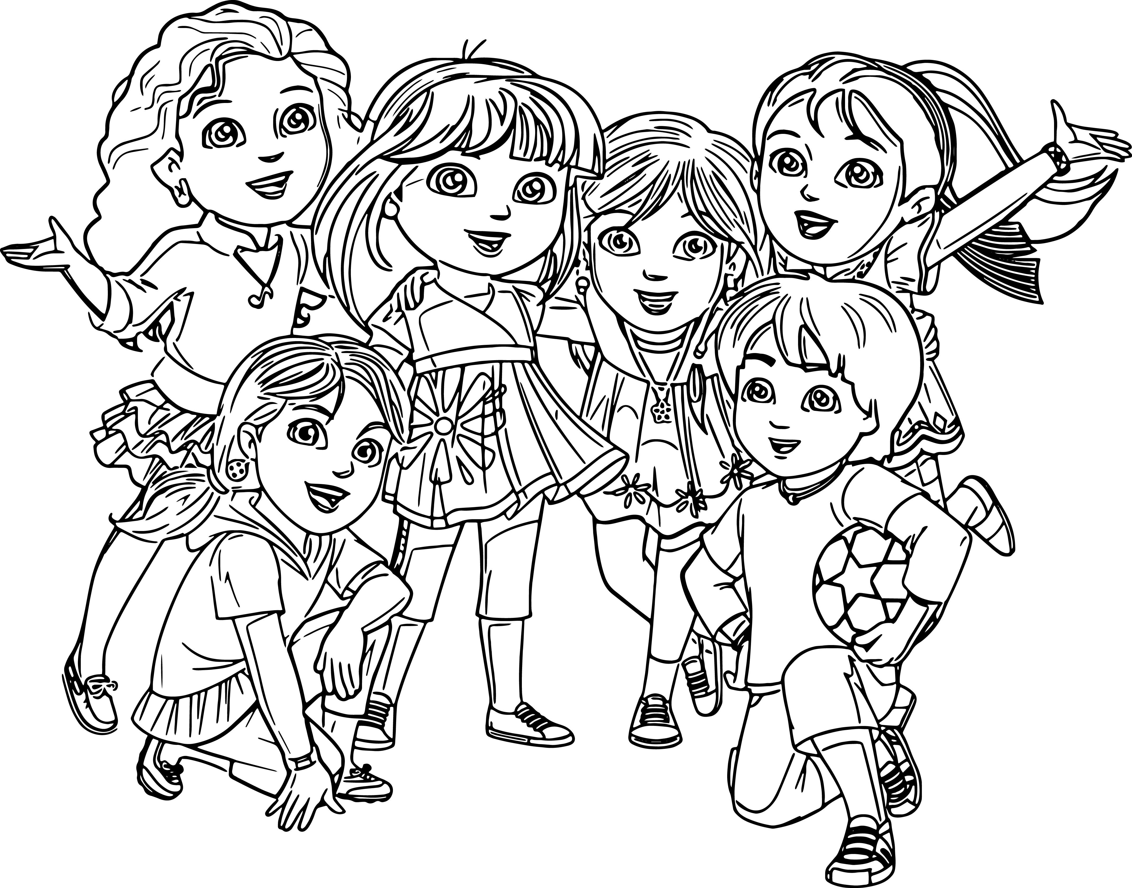 Pg 19 and 19 – Dora and Friends coloring page
