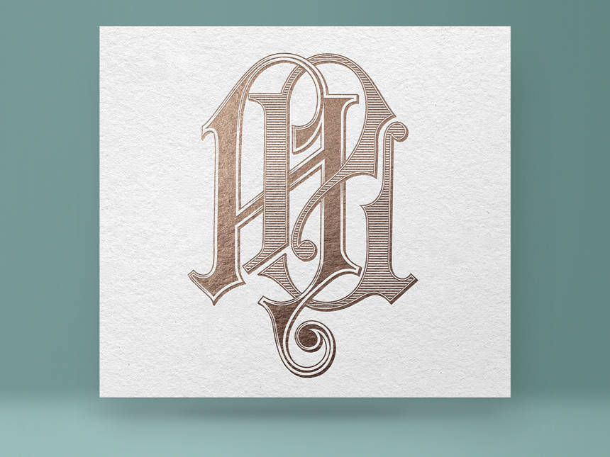Monogram Al La Vintage Wedding Digital Vector