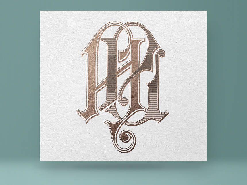 Monogram Al La Vintage Wedding Digital Vector