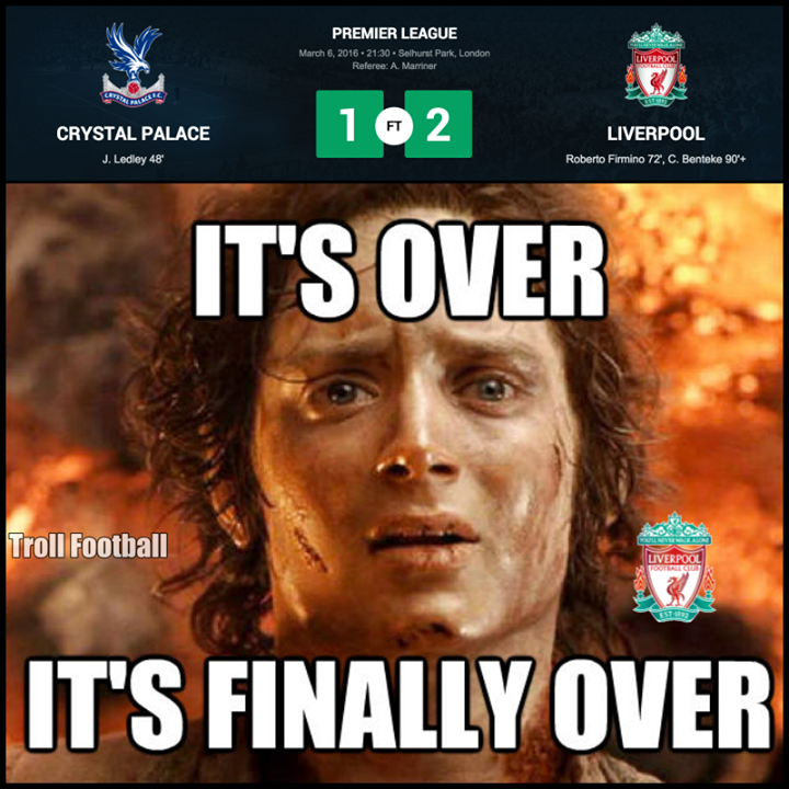 Liverpool FC has finally won a game against Crystal Palace Football Club and with 10 men from a goal behind.   Liverpool fans right now
