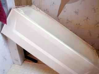 How to replace a mobile home bathtub house projects for Install bathroom in enclosed trailer