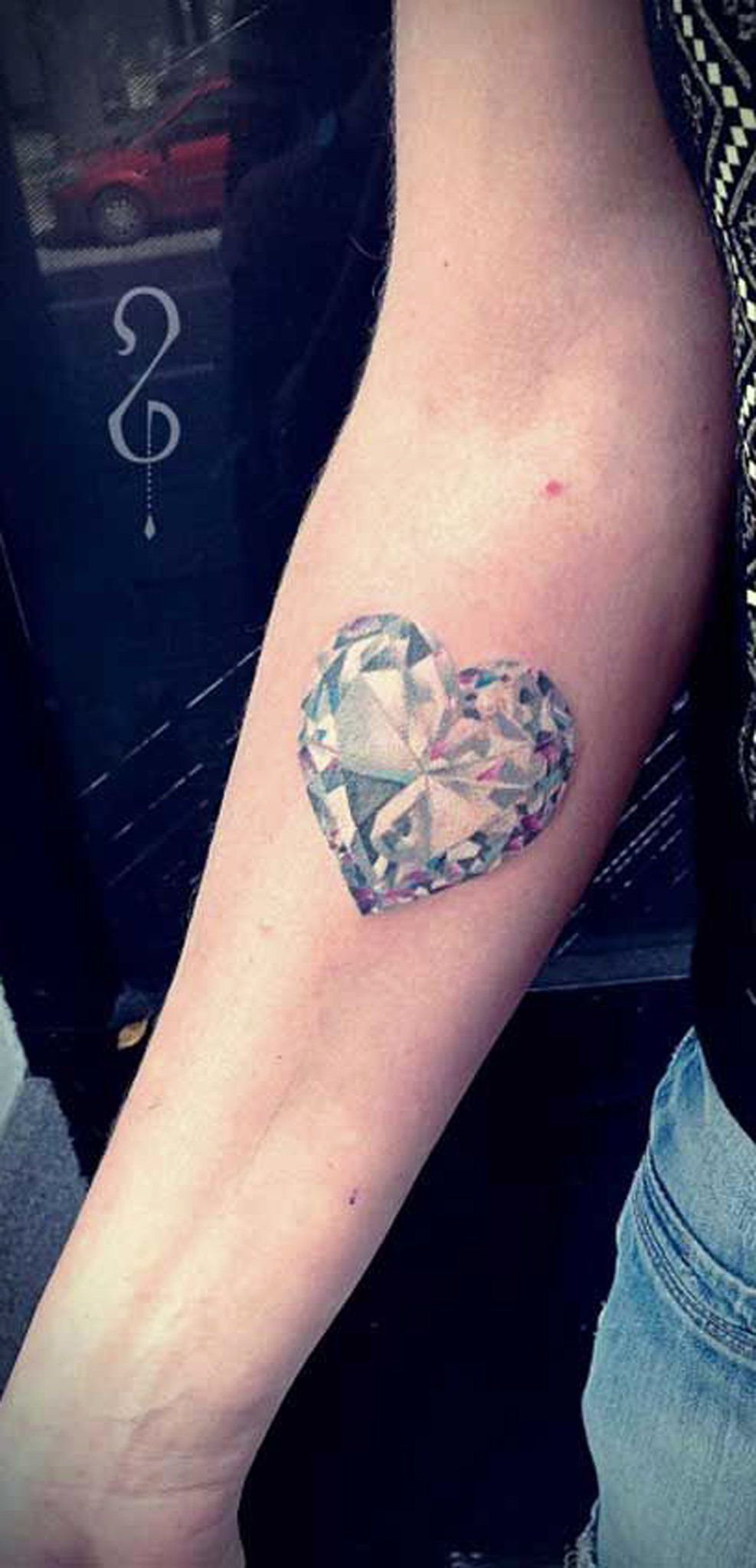 Unique Crystal Heart Forearm Tattoo Ideas for Women