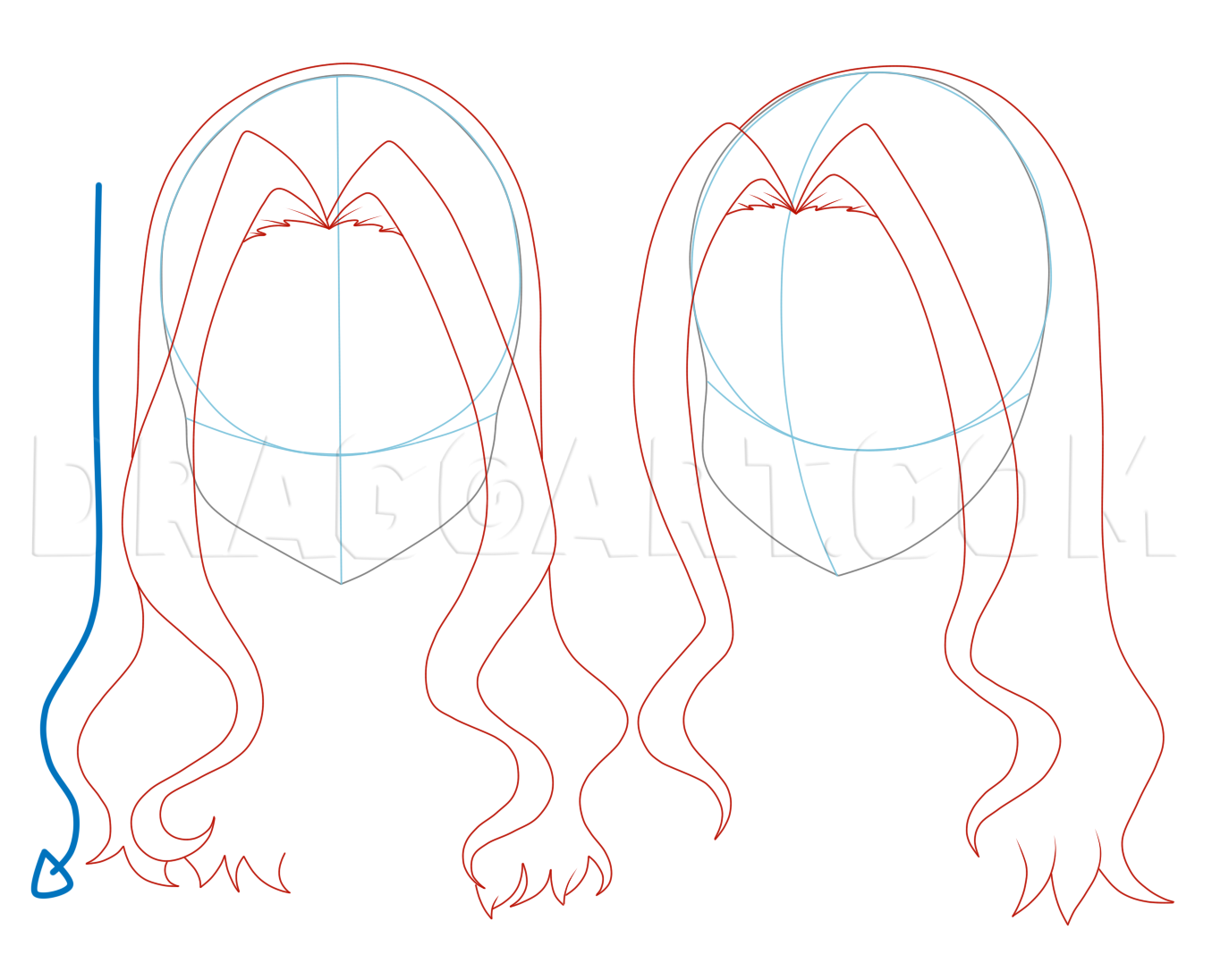 How To Draw Girl Hair Step By Step Drawing Guide By Jedec Dragoart Com In 2020 How To Draw Anime Hair Girl Drawing Anime Drawings