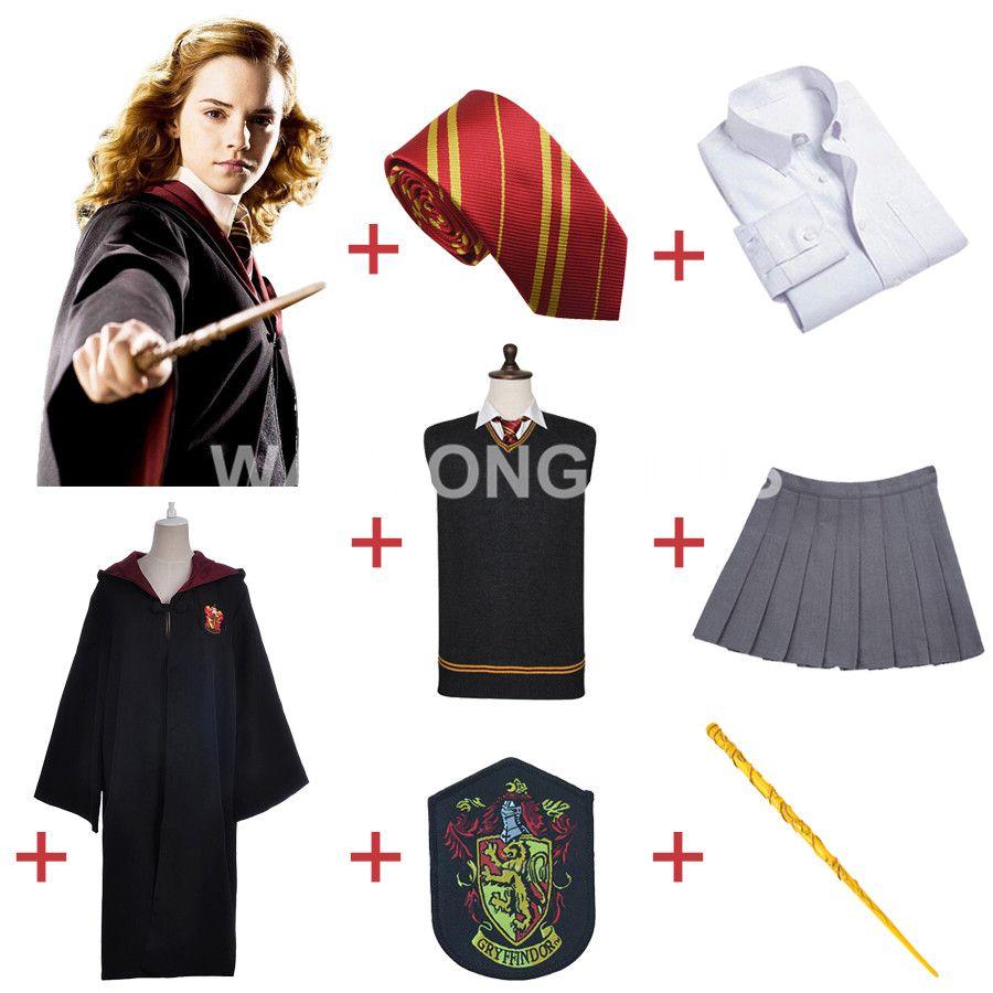 livraison gratuite gryffondor hermione granger cosplay robe cape jupe uniforme baguette. Black Bedroom Furniture Sets. Home Design Ideas