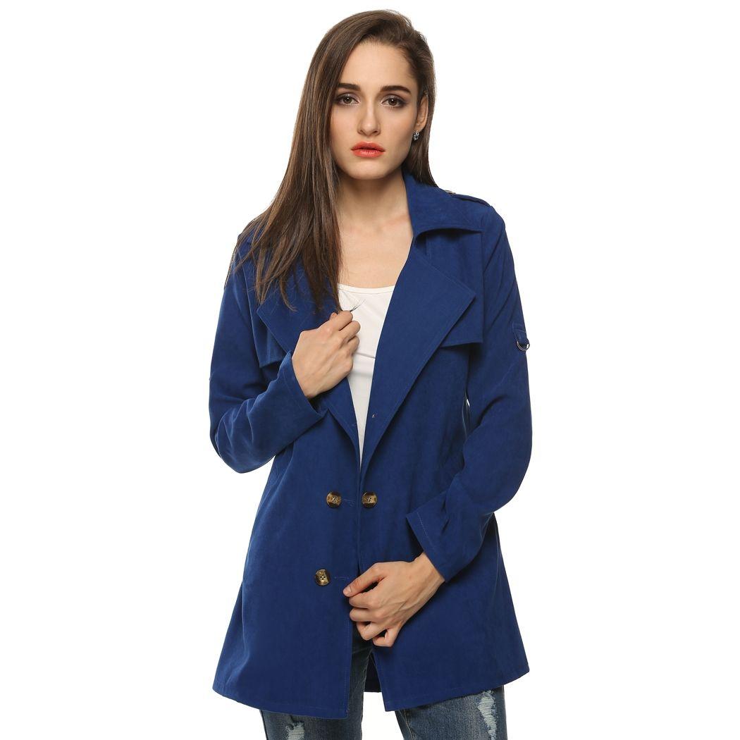 Zeagoo DarkBlue Dark blue Women Fashion Double-Breasted Long Trench Tank Tops Coats & Jackets dresslink.com