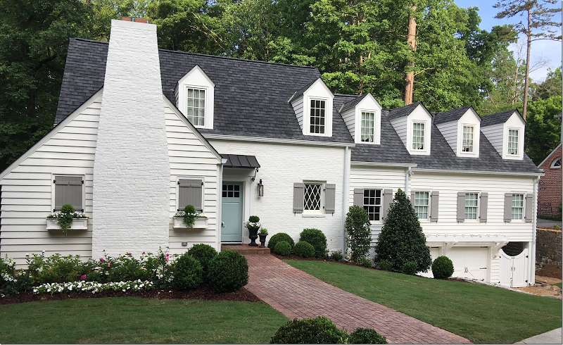 Exterior Was Painted A White White Sherwin Williams S Alabaster Which Is One Of The Blog S Most Favo White Exterior Houses Exterior House Colors House Colors