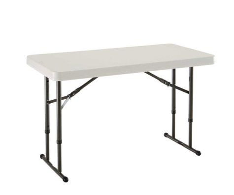 Lifetime 4 Ft Commercial Adjustable Height Folding Table Almond Adjustable Height Table Folding Table White Granite