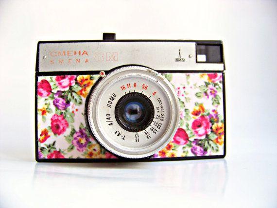 Snap keepsake shots with a vintage floral camera.