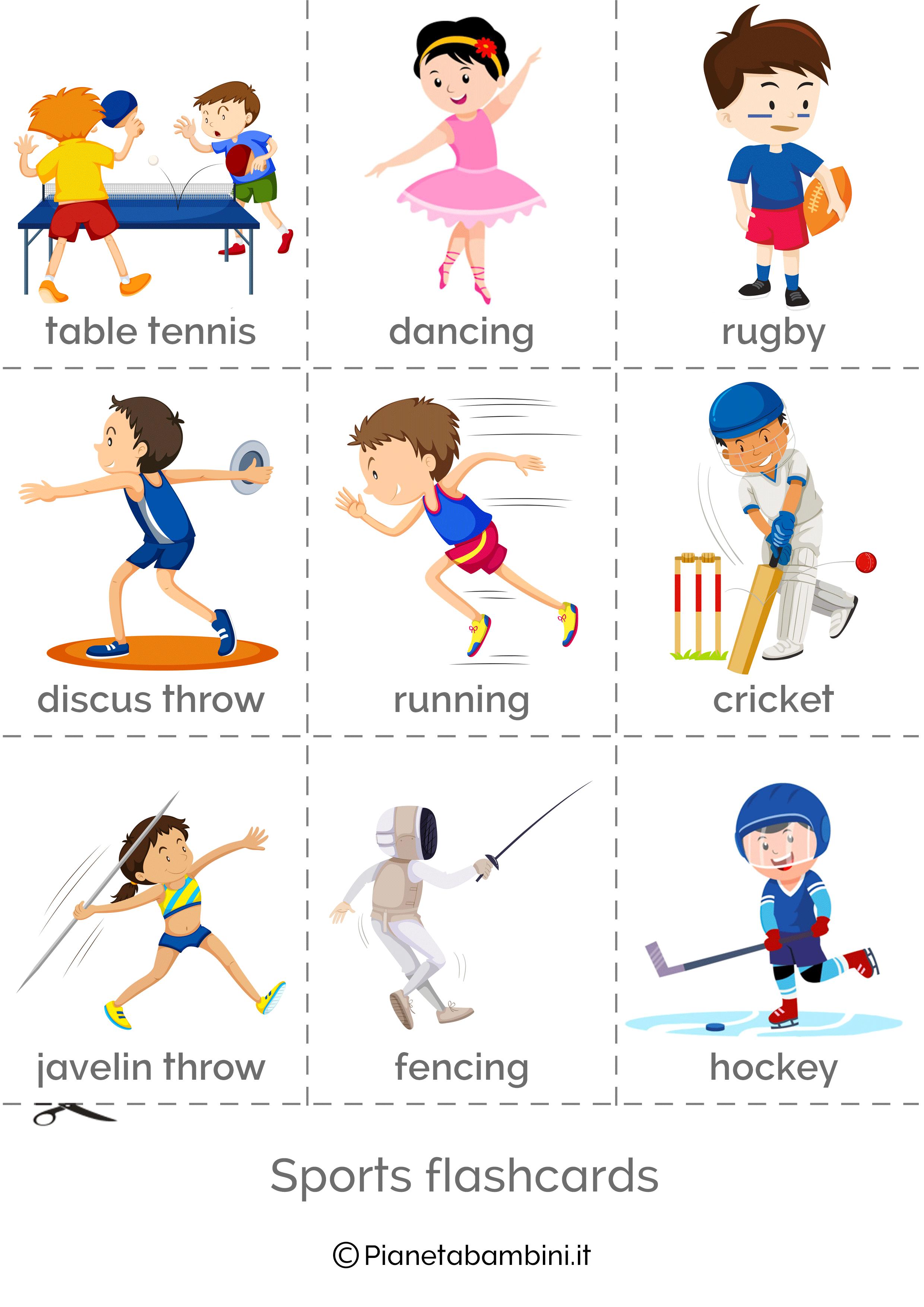 Sport in inglese esercizi per la scuola primaria for Parole capricciose esercizi