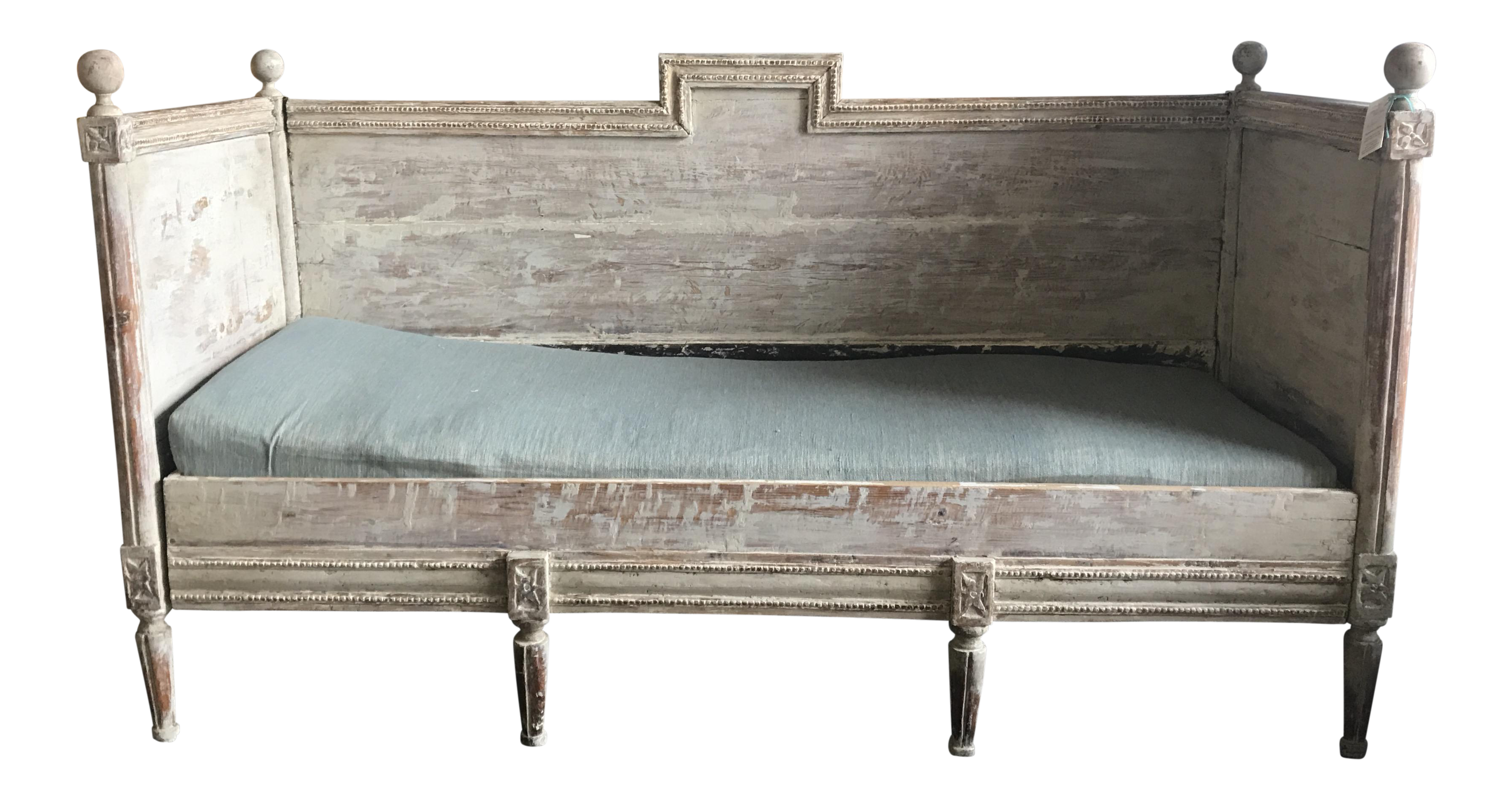 Antique Gustavian Wooden Daybed On