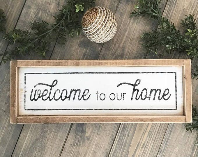 Welcome To Our Home, Welcome Sign, Housewarming Gift, Farmhouse ...