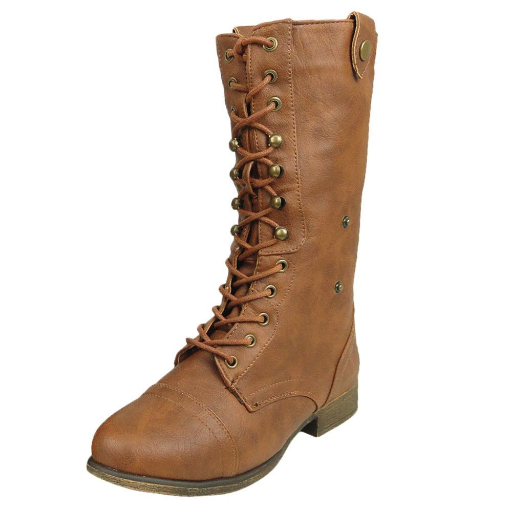 Womens Mid Calf Boots Folded Cuff Buckle Accent Lace Up Combat Shoes